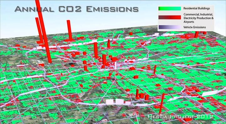 Hestia is a software system that shows building-by-building CO2 emissions