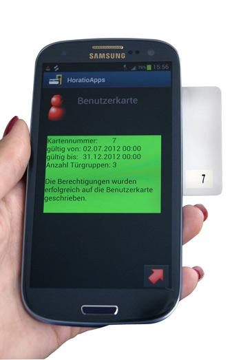 """Either a physical keycard or a digital """"key"""" on an NFC-equiiped smartphone can be used with the Recordura lock"""