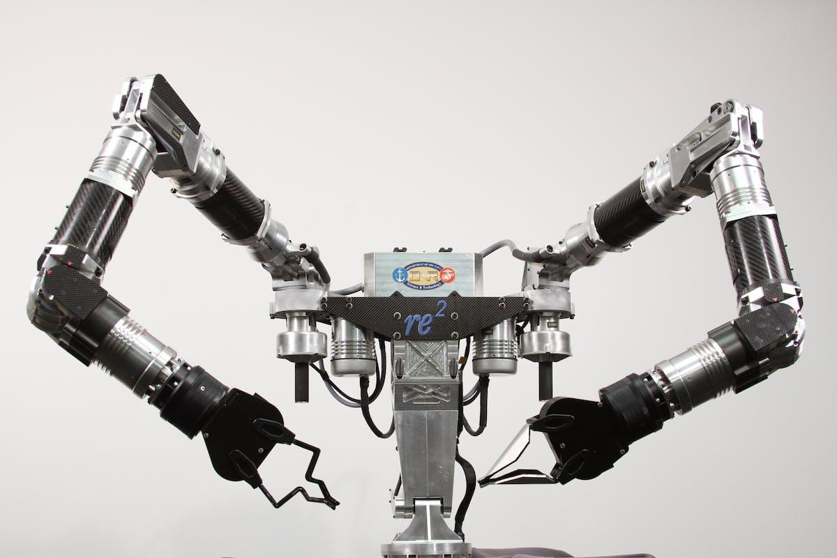 RE2 Robotics will leverage its robotic manipulation expertise, demonstrated in products like theHighly Dexterous Manipulation System (pictured),to developa drop-in robotic system that can fly a plane like a human