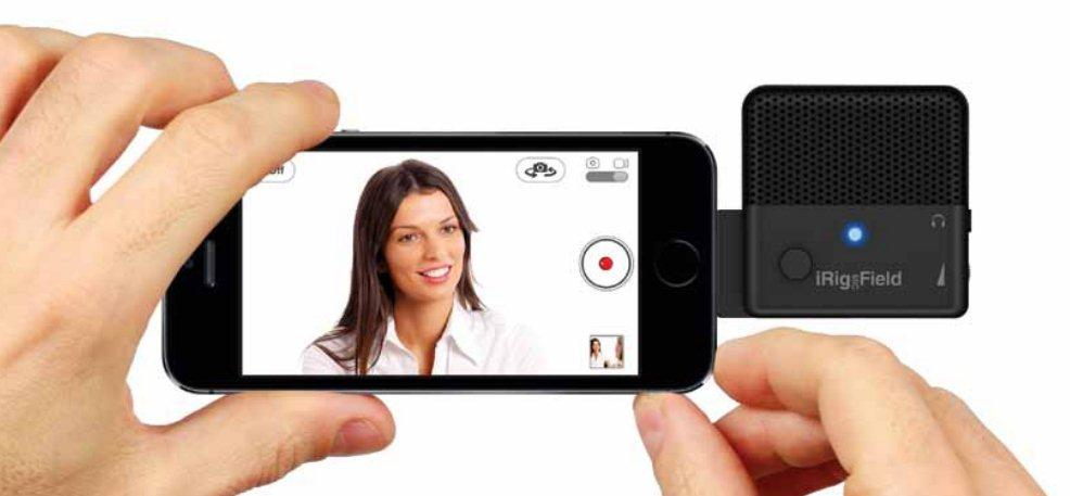 The iRig Mic Field benefits from a 90-degree positioning pivot to allow for vertical or horizontal device use