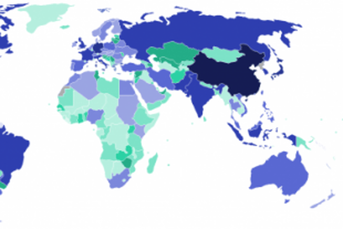 Internet users by country, 2007.Image via Internetworldstats.com