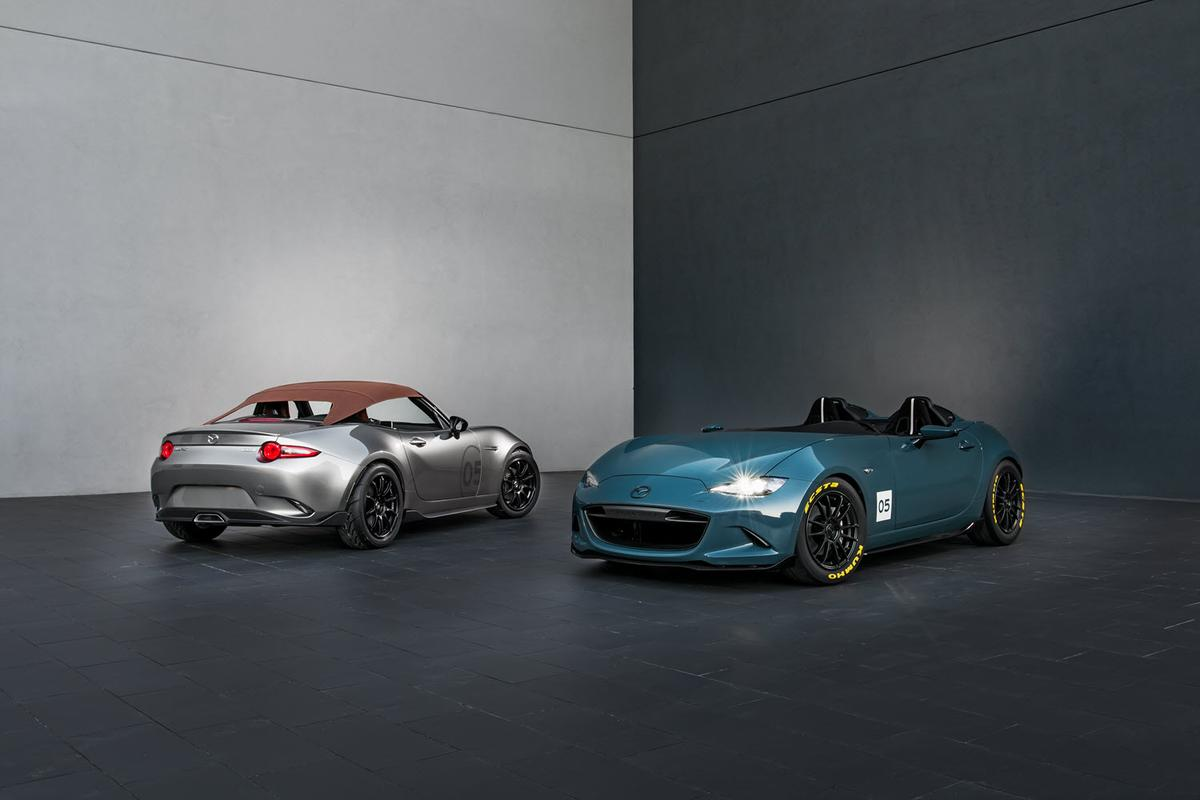 The Mazda MX-5 Speedster, at left, and Spyder, at right