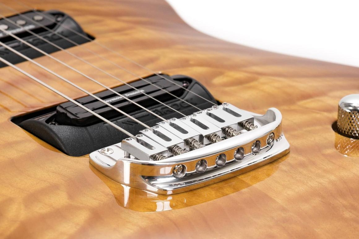 Each Gyrock pickup module hosts up to three Seymour Duncan pickups, and the player can mix and match pickups in use on-the-fly