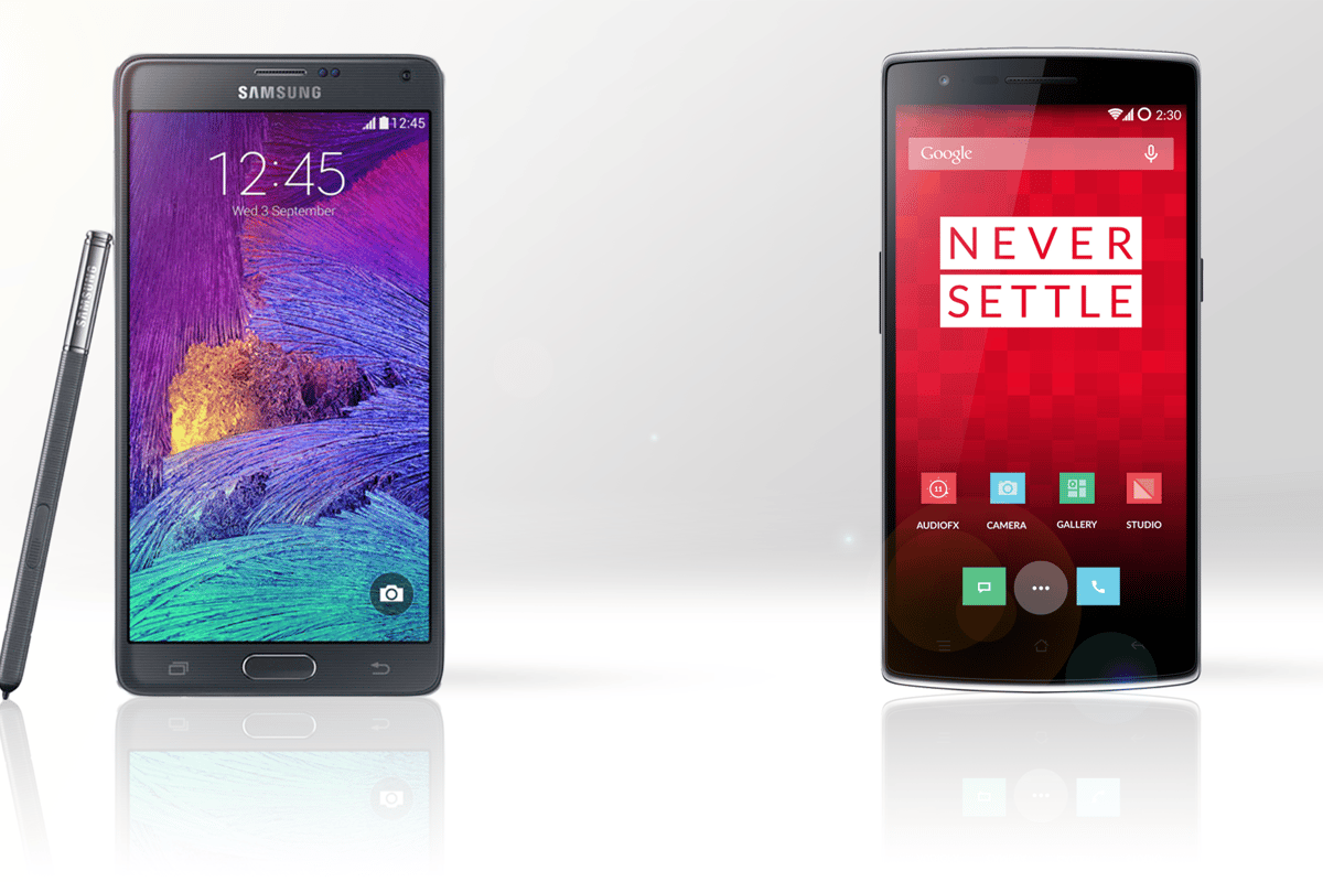 The Samsung Galaxy Note 4 (left) and OnePlus One (right)