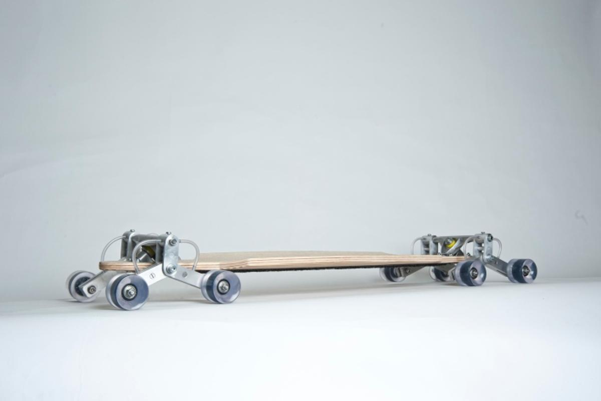 The STAIR ROVER is a prototype skateboard designed to descend stairs