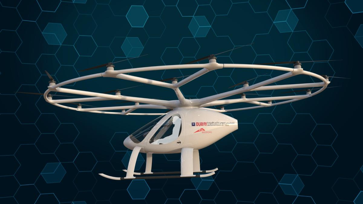 The Volocopter is poweredby nine swappable batteries