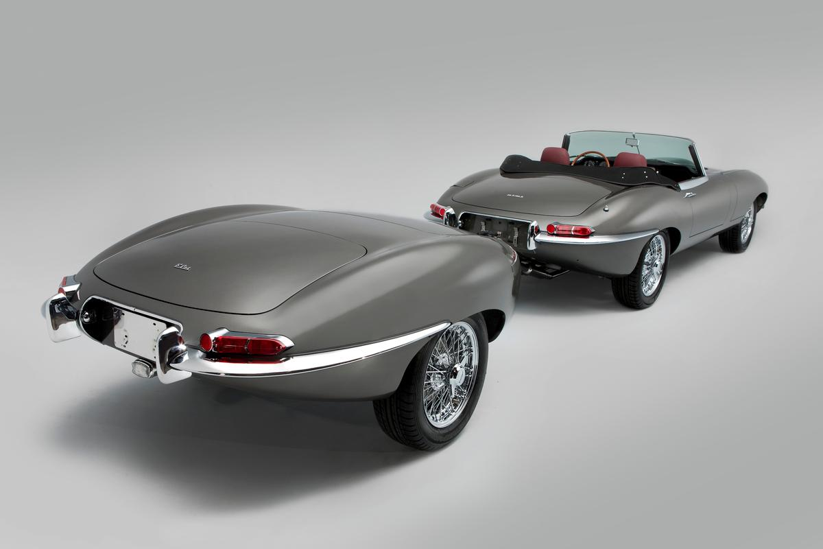 The matching trailer was built from two E-Type rear ends