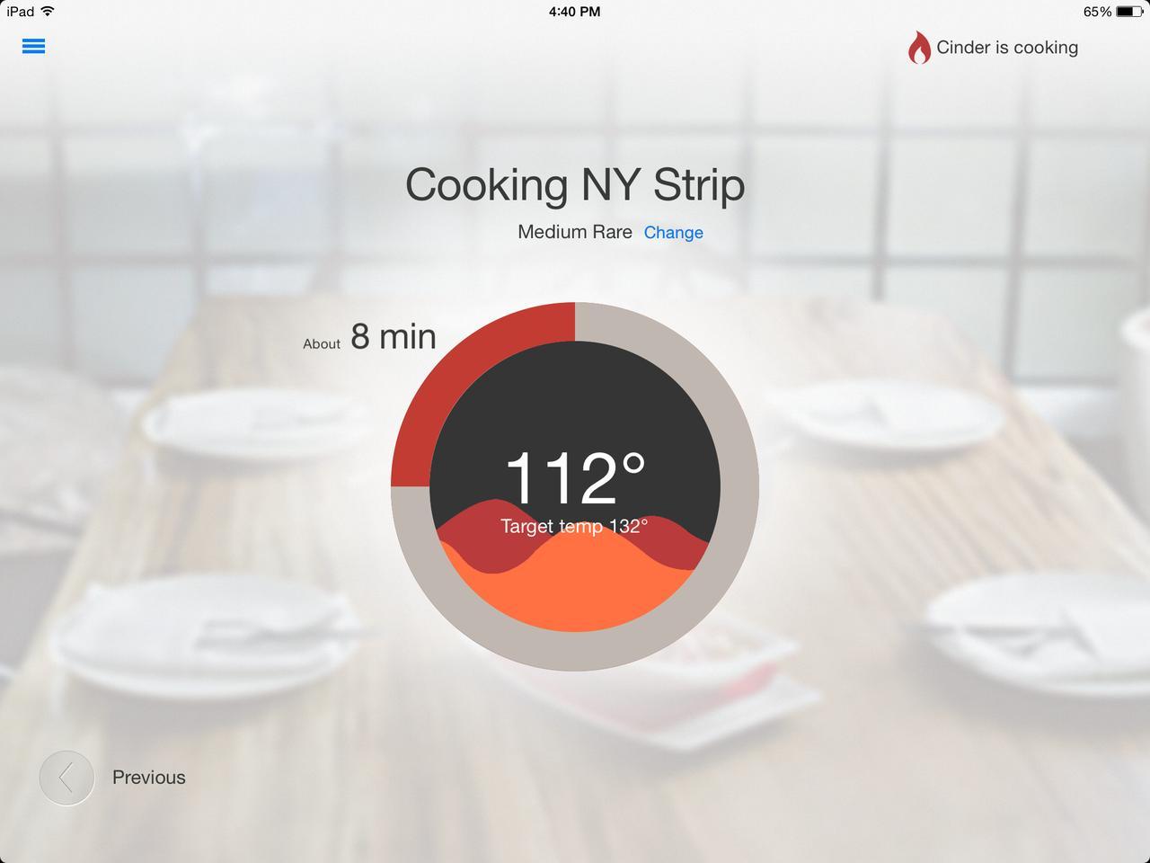 The Cinder Sensing Cooker app showing cooking temperature status