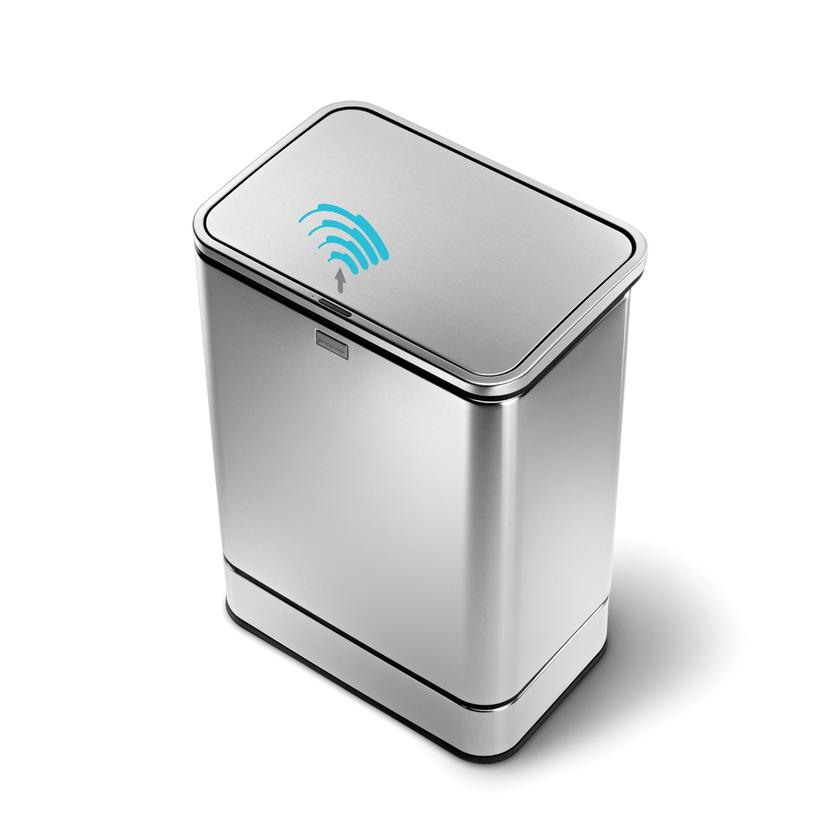 "The simplehuman sensor can is a ""touchless"" garbage can that reacts to human activity"