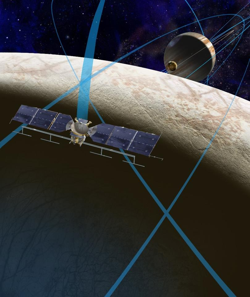 A future NASA mission to Europa would see a spacecraft make multiple close flybys of Jupiter's moon Europa, thought to contain a global subsurface ocean