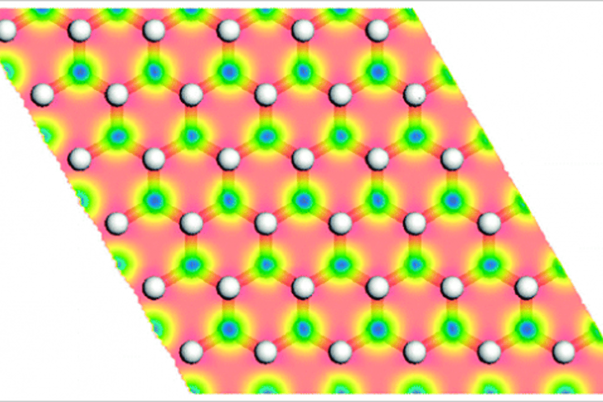 Representation of a graphone sheet. The semi-hydrogenation of graphene (hydrogen atoms are the white dots) makes the material ferromagnetic