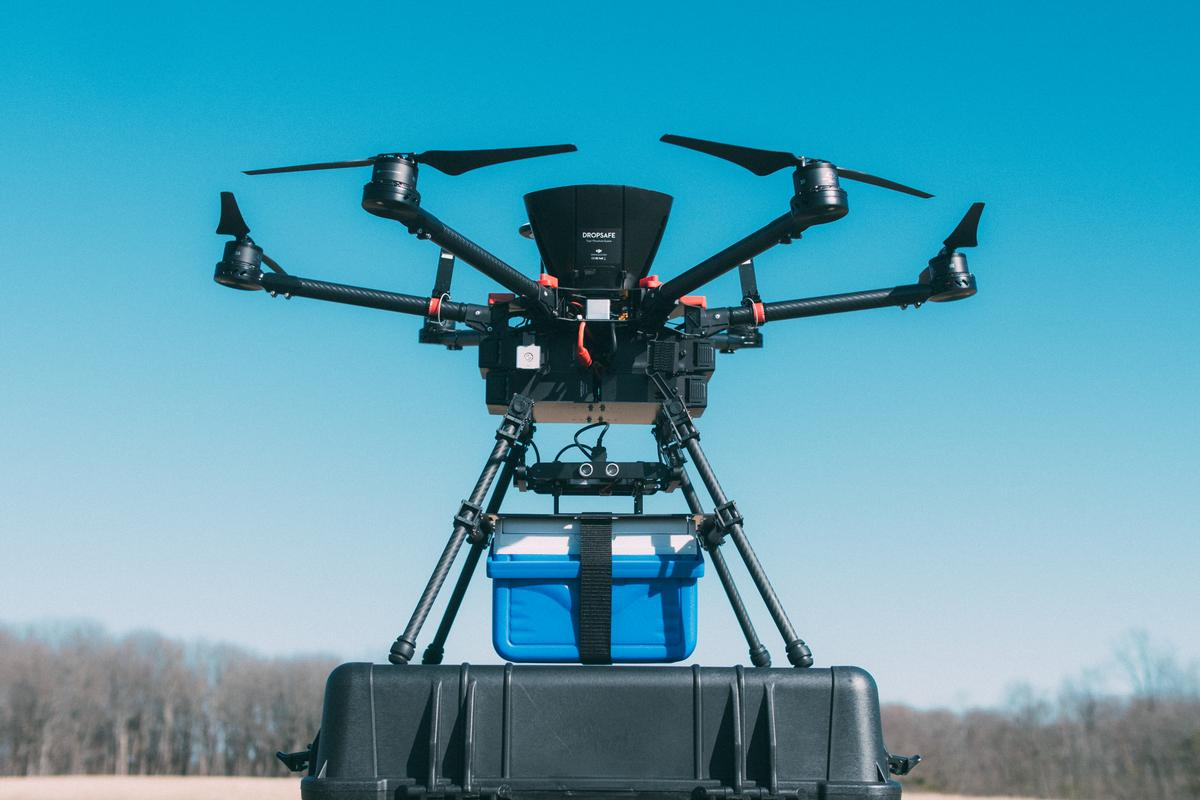The blood was transported on a DJI S900 drone