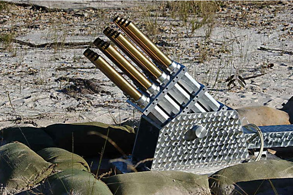 As each barrel can contain a variety of projectiles, it can fire a sensor from each of the barrels to cover an area with sensors. If any sensor is triggered, the barrel to which it belongs fires a subsequent explosive projectile to the exact same point.