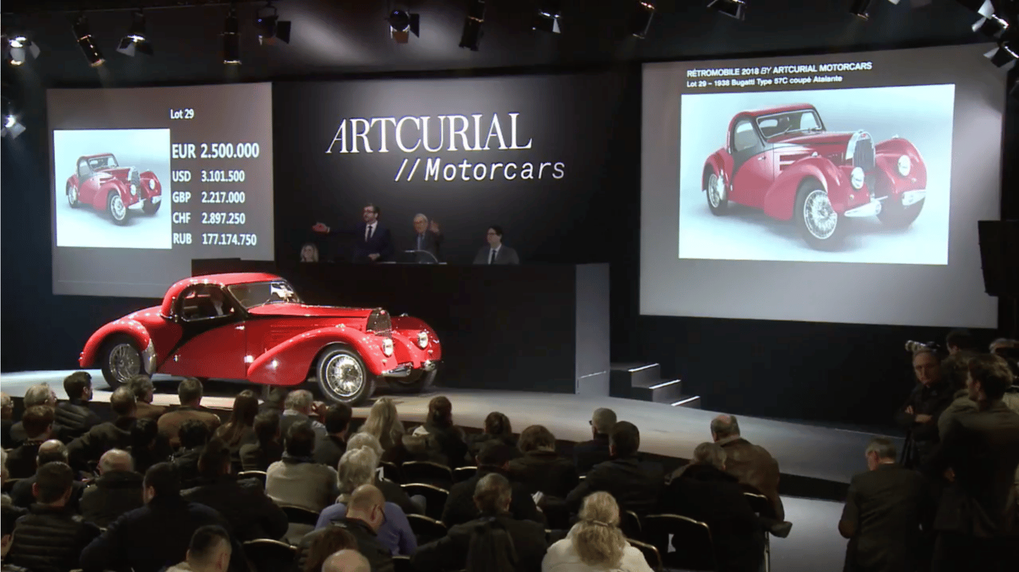 The Chiron's top price of the week somewhat eclipses the second highest price of the week which was also fetched by a Bugatti from the company's glorious first incarnation. This gorgeous 1938 Bugatti Type 57C Coupe Atalante sold for €2,903,200 ($3,557,153) at Artcurial's official Retromobile auction to take second spot.
