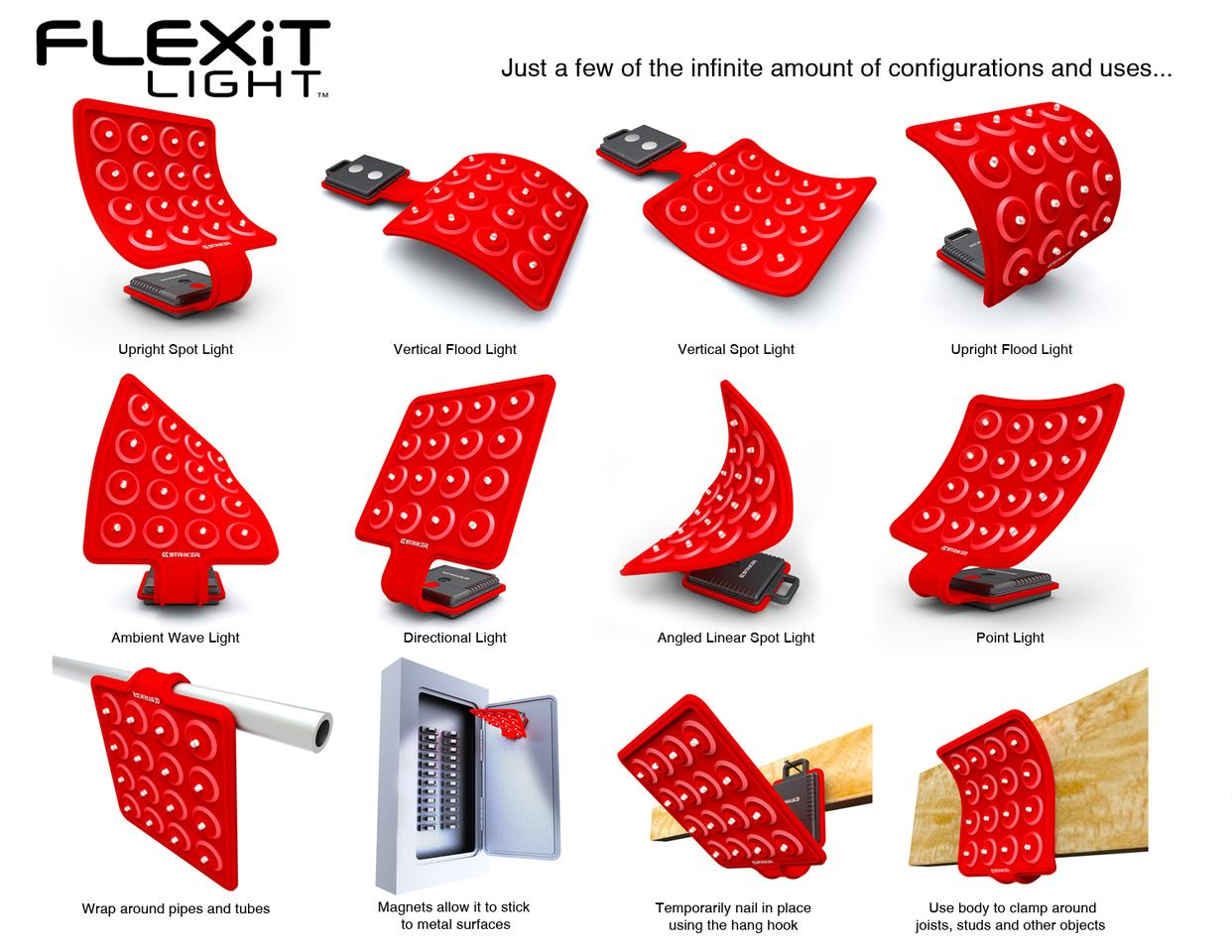 The FLEXiT Light incorporates a bendable, hang-able and magnetically-attachable array of 16 LED bulbs
