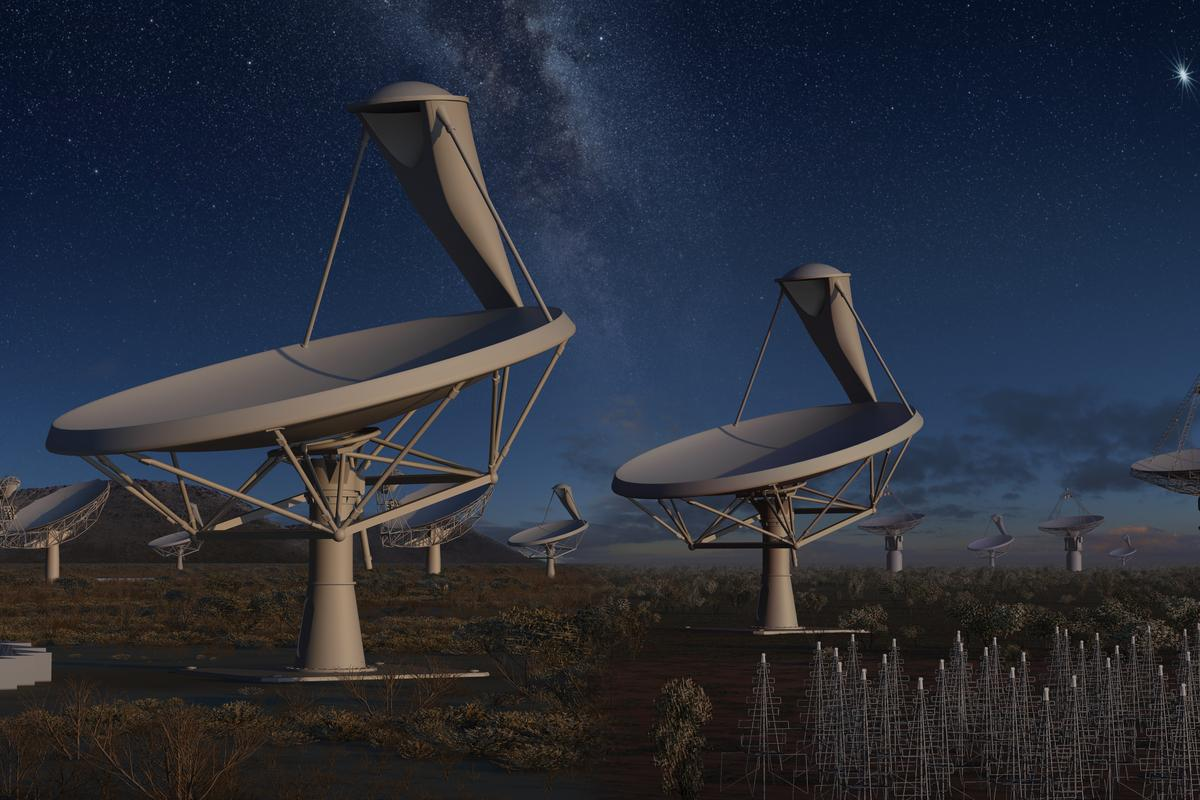 The SKA array will detect UHE cosmic rays as they strike the lunar surface (Image: SKA Project)
