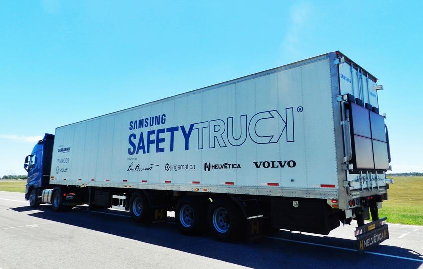 Samsung S Transparent Safety Truck Hits The Road En Route To