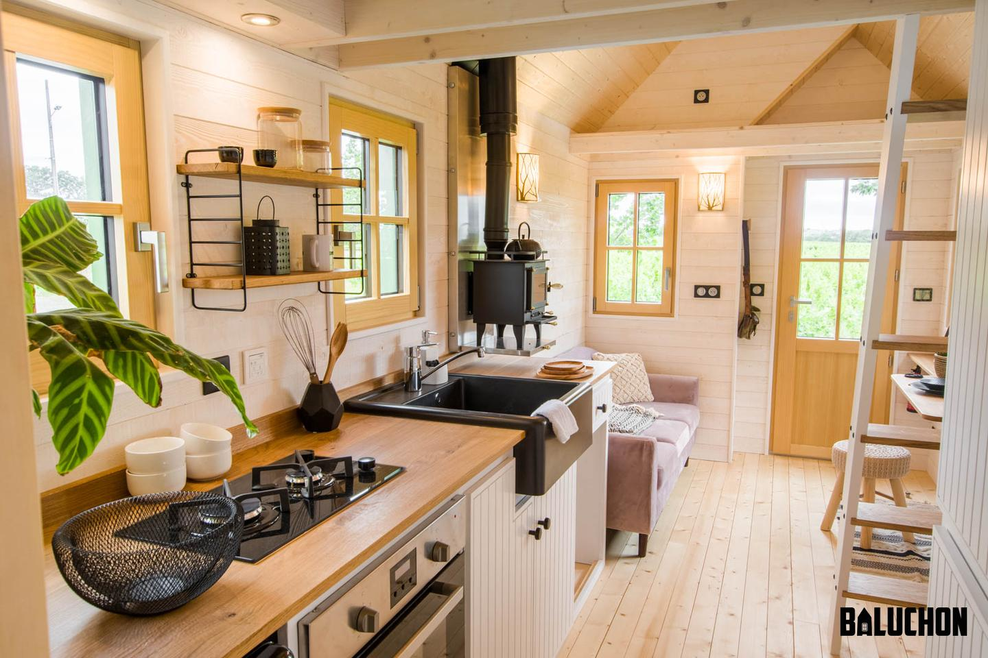 La Mésange Verte includes a tiny wood-burning stove for heating the interior