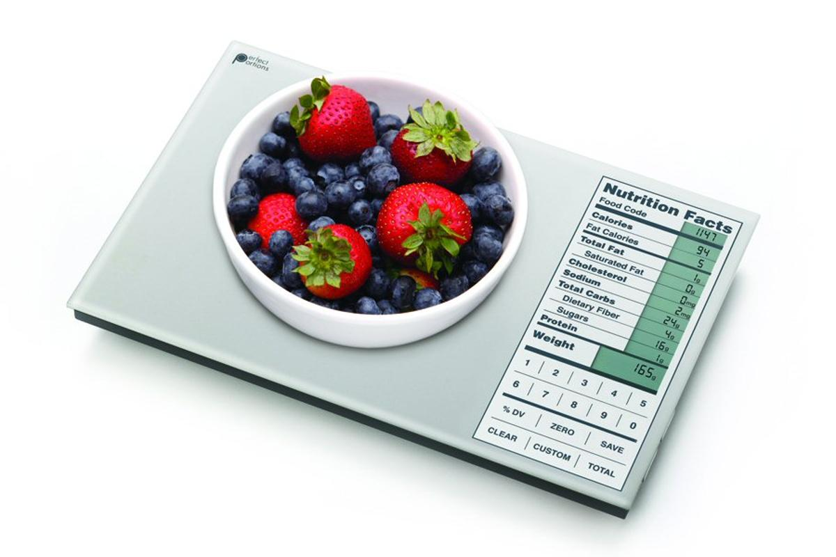 The Perfect Portions Digital Food Scale doesn't just weigh out food, it also gives important nutritional information