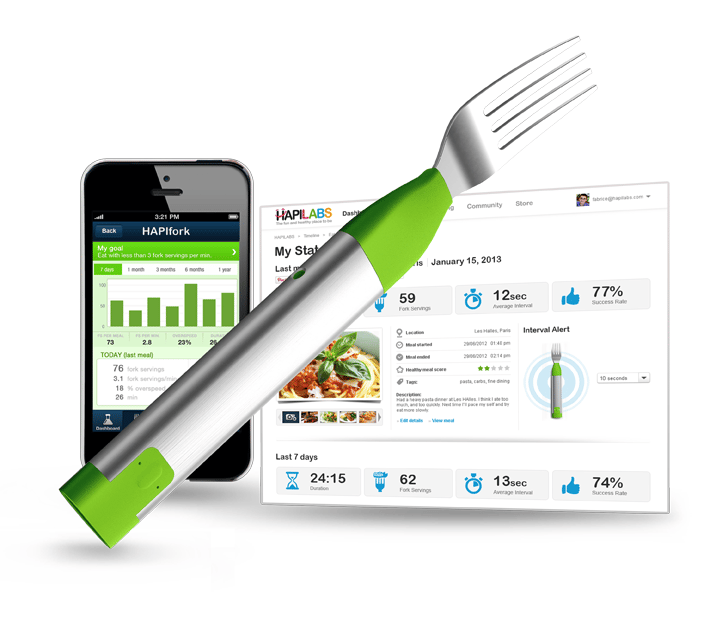 HAPIfork smart fork comes with a free smartphone app to track your eating habits