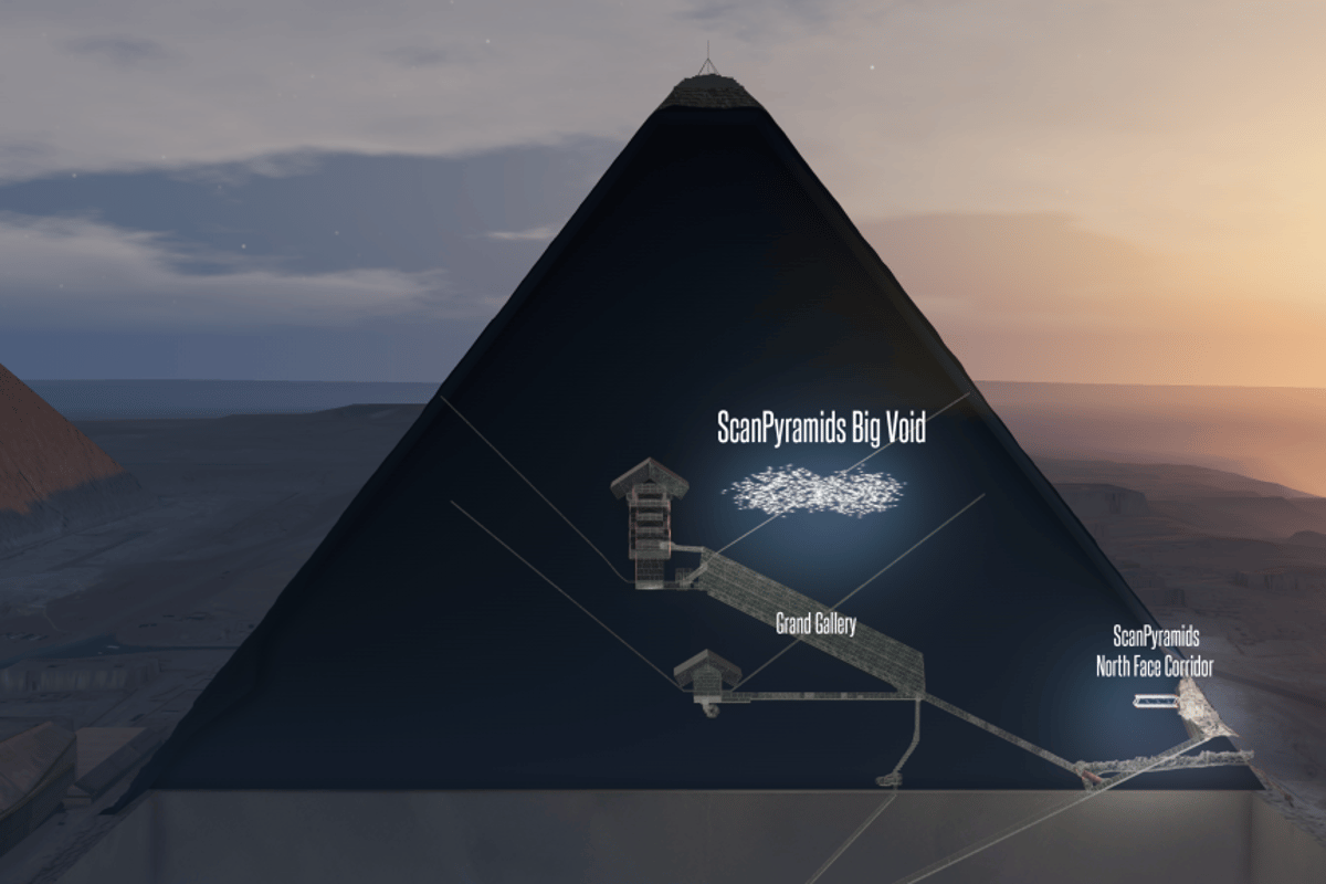 A new imaging technique is suggesting there is a large, previously undiscovered void inside the Great Pyramid of Giza
