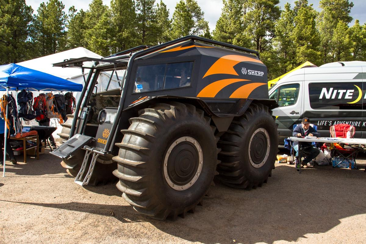 Those giant 63-in Sherp tires propel the beast through water, as well as over land