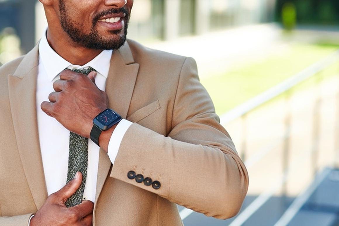 The Pollix watch comes with a silicon band but will fit with any regular 20-mm watch band