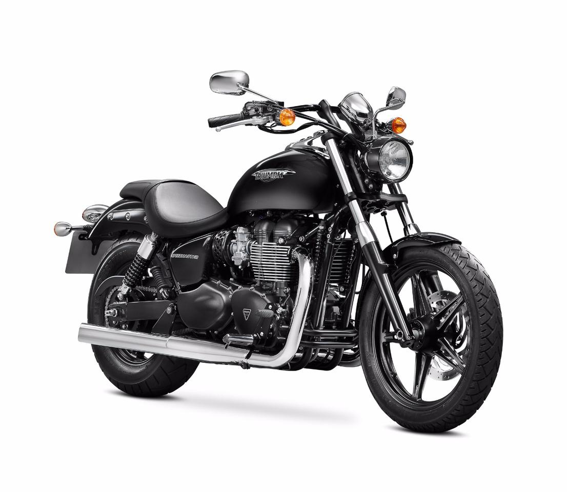 The current Speedmaster is built around Triumph 's air-cooled 865-cc twin engine from the previous Bonneville generation and is still available as a 2017 model