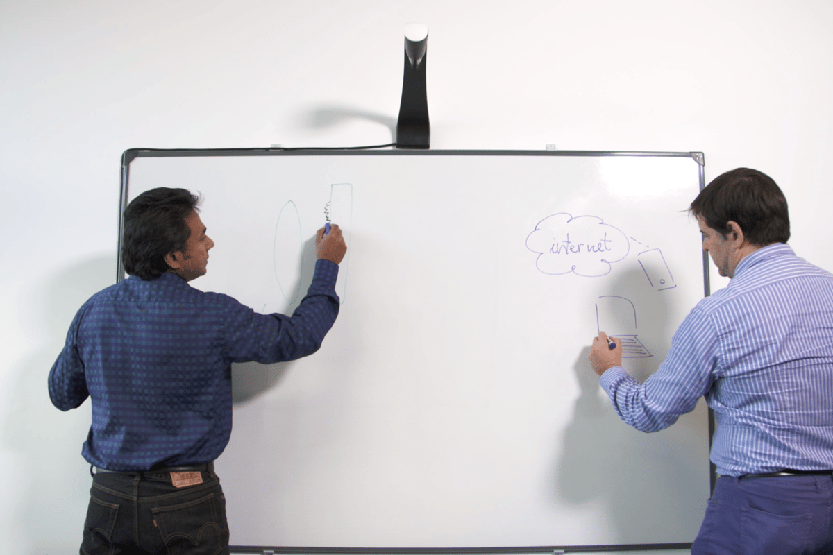 The Kaptivo unit mounted above the whiteboard captures whiteboard notes and sends a live digital feed to remote workers