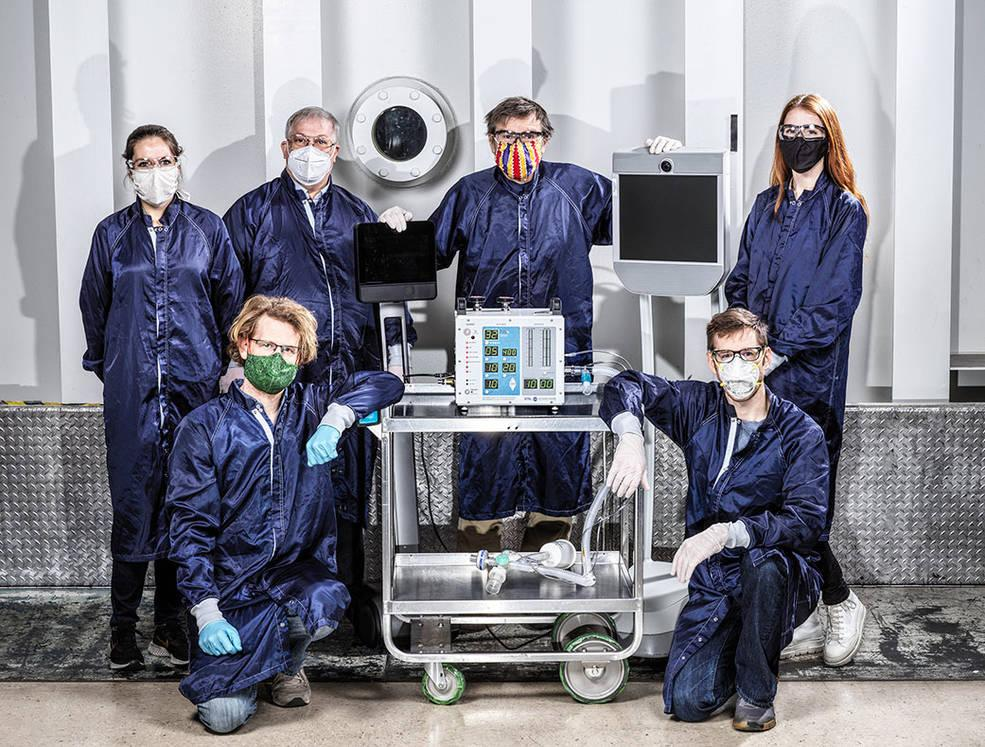 Some of the dozens of engineers involved in creating a ventilator prototype at NASA's Jet Propulsion Laboratory specially targeted to coronavirus disease patients