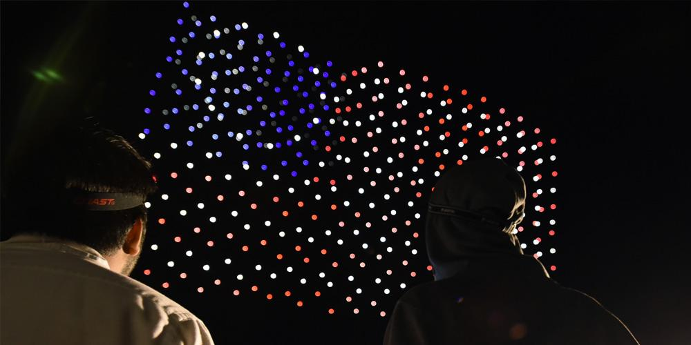 Intel Shooting Star drones create a US flag during 2018 Independence Day celebration rehearsals at Travis Air Force Base in Fairfield, California