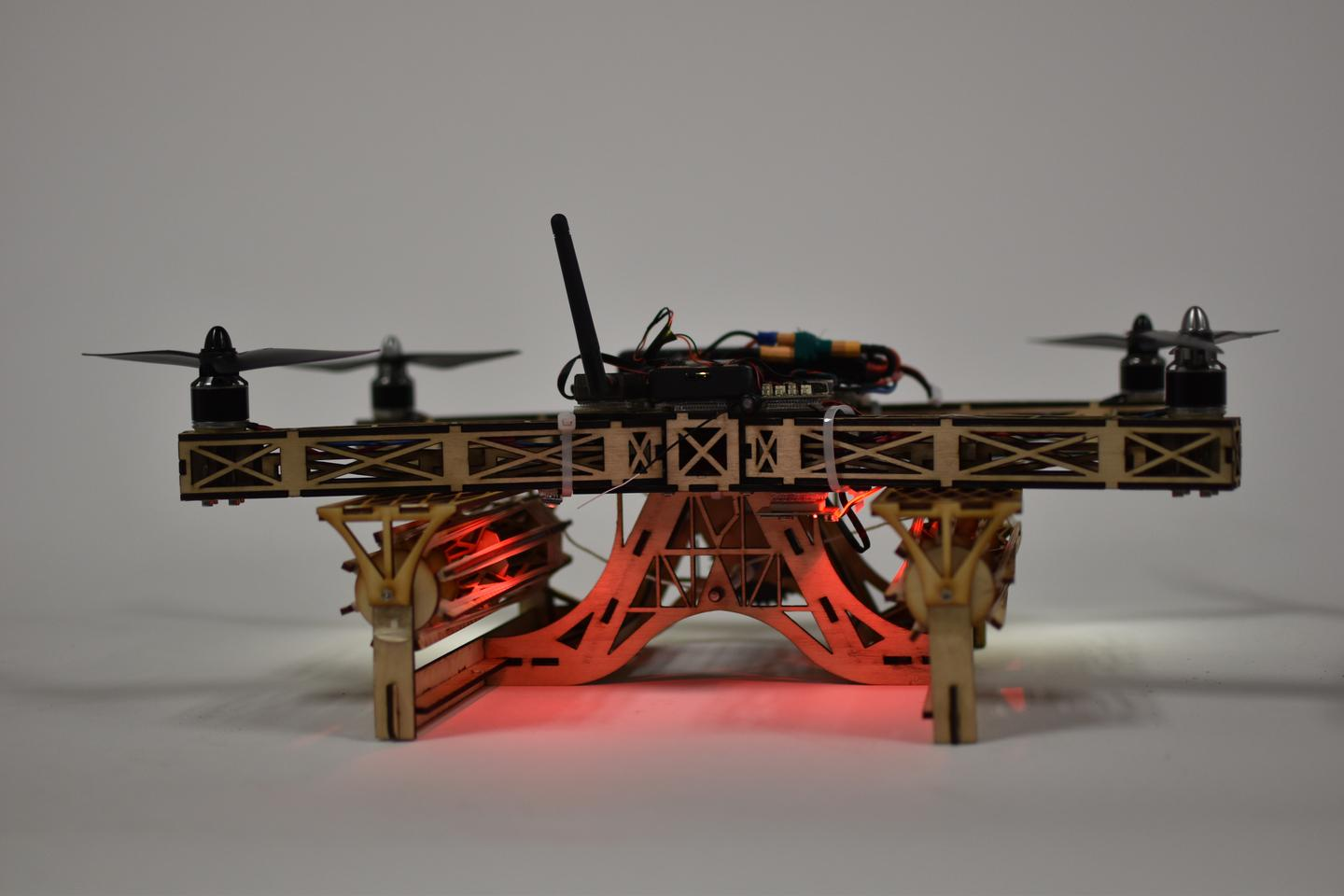 Glowforge's 3D laser printed drone with rubber band gatling guns