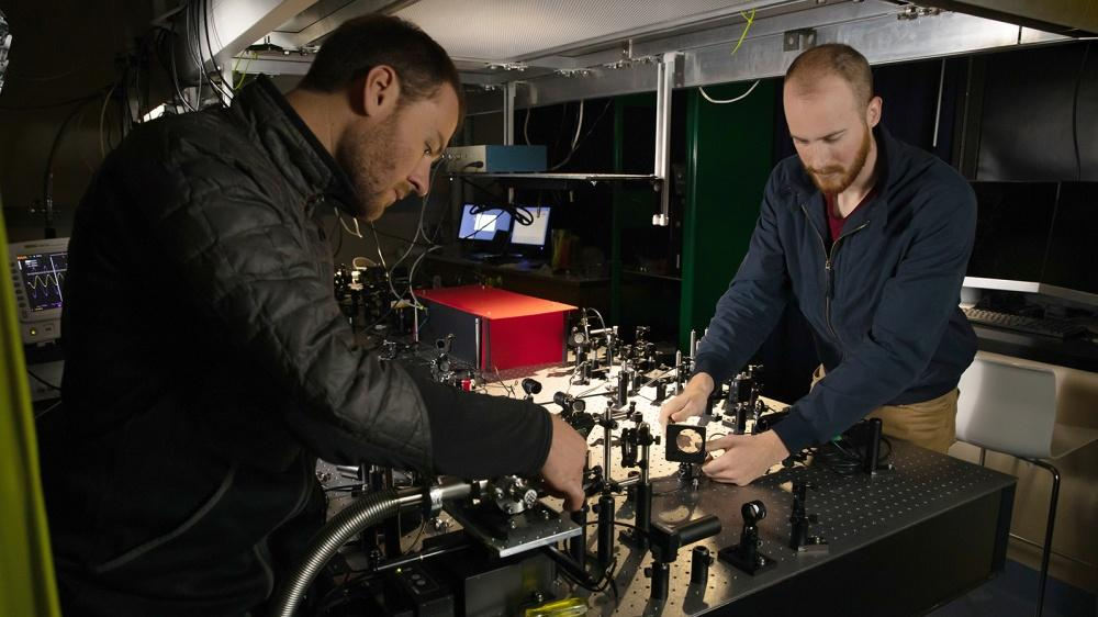 Scientists in the Alemán Lab work on the bolometer