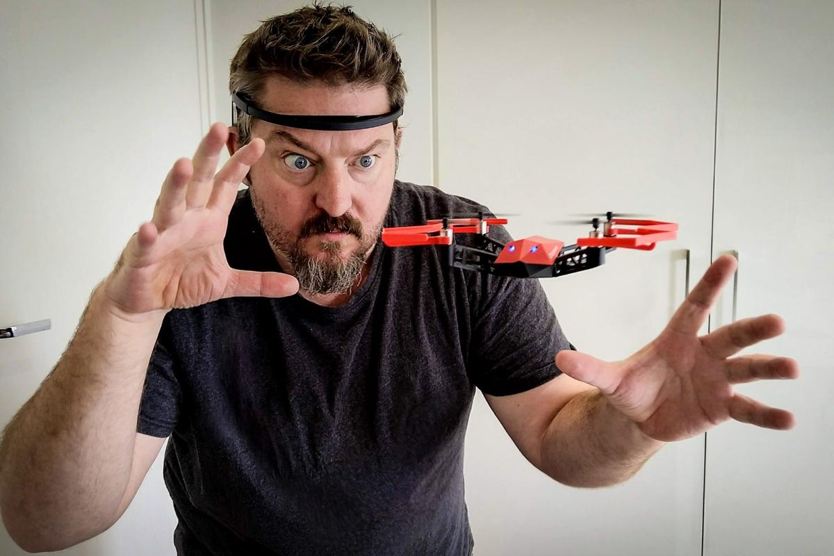 "The UDrone uses hands-free ""mind controls"" via a sensor-heavy headset"