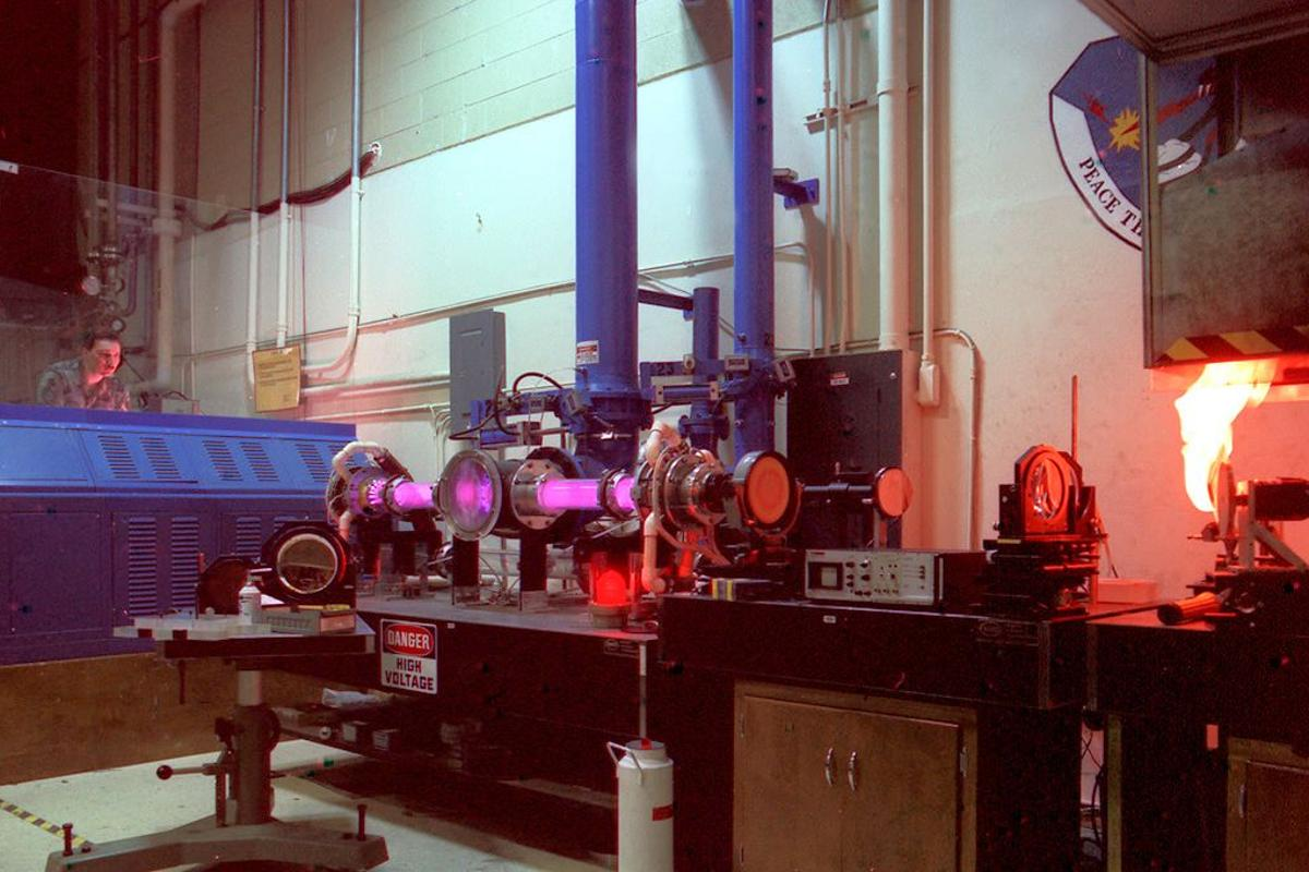 50 kW CO2 laser in action (Photo: Laser Effects Test Facility - US Government)