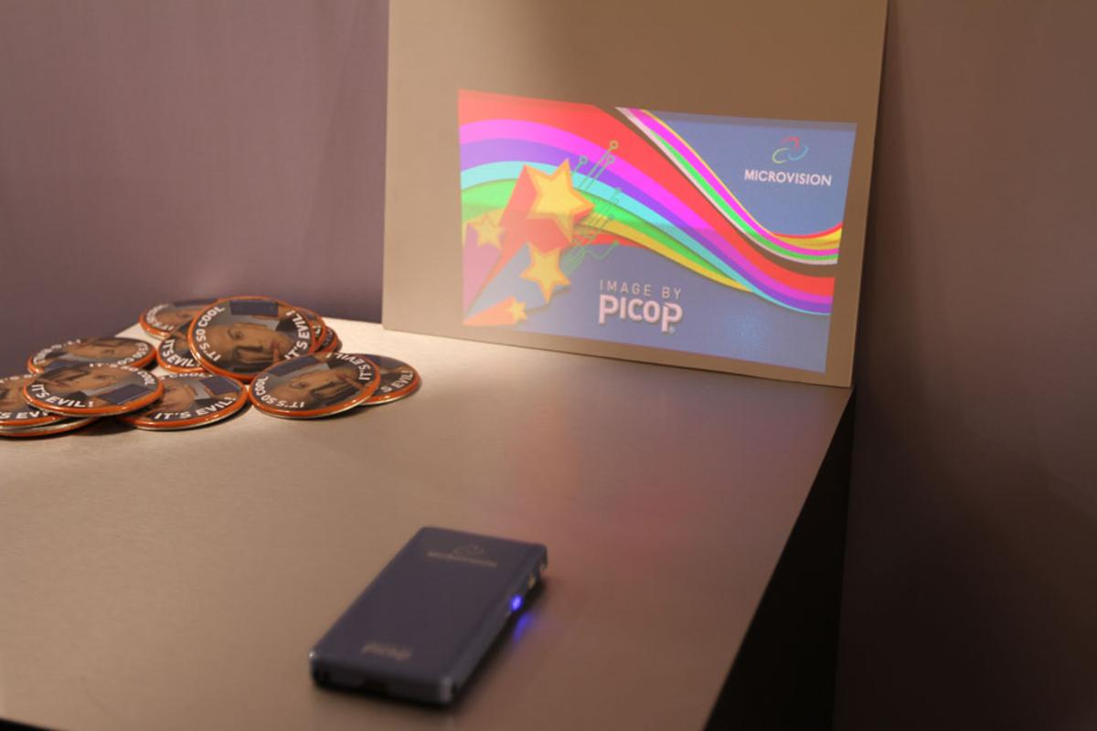 The Microvision SHOWWX laser pico projector enables widescreen quality display of images directly from a mobile device