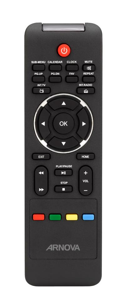 The included remote control offers direct access to calendar, clock and alarm functions as well internet TV and web radio