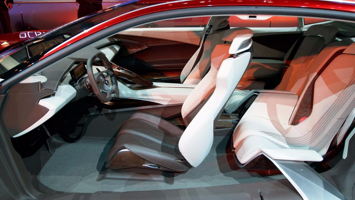 The angles of the Acura Precision Concept's exterior are mirrored inside the car, though softened with elegant materials