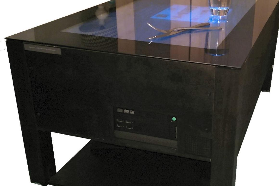 With the Jigabyte coffee table, you can enjoy a snack or brew while watching online videos