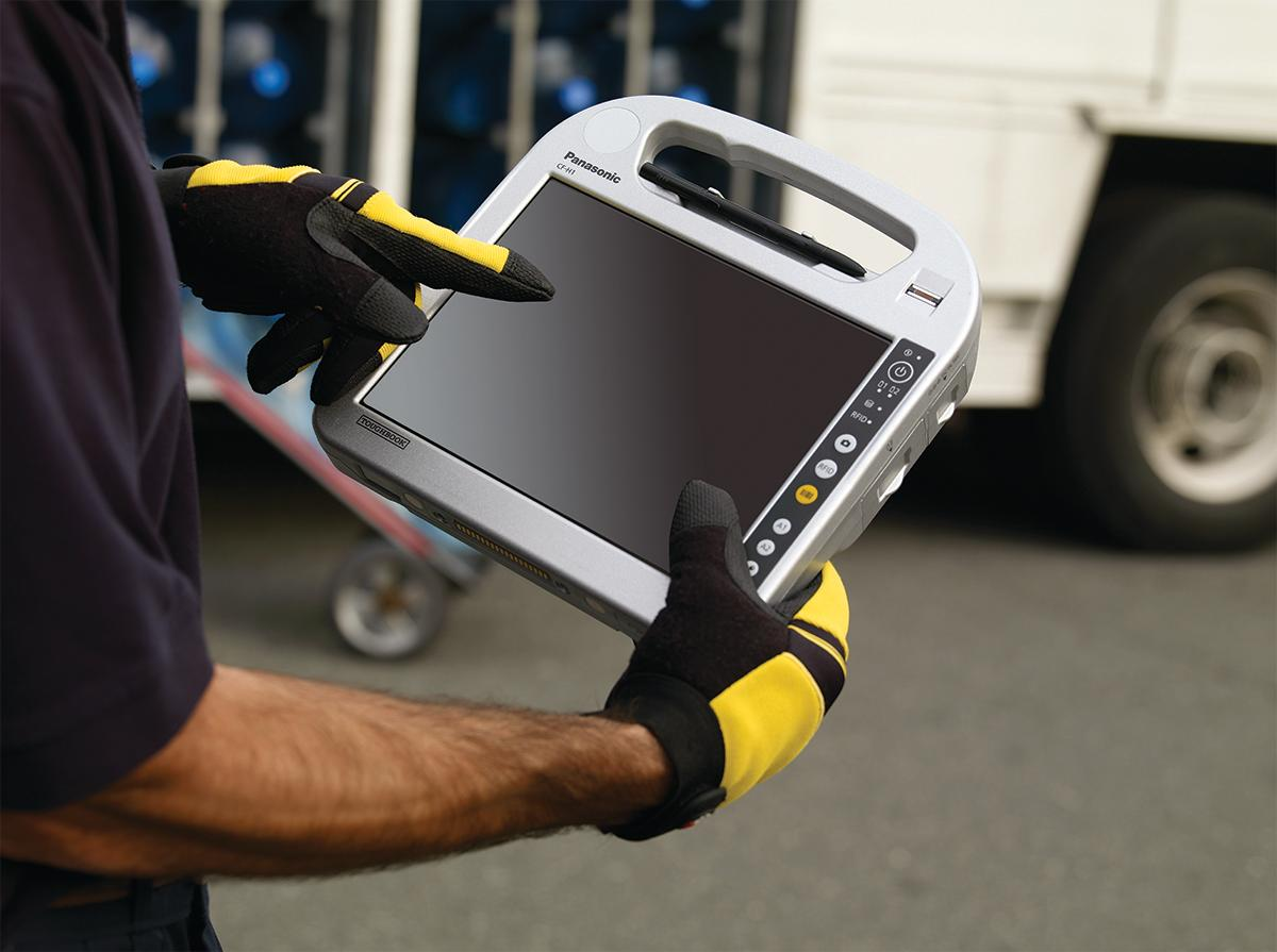 Panasonic's H1 Field tablet computer is light enough for use by couriers