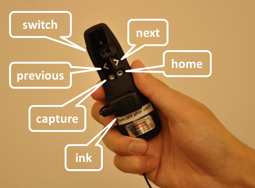 The second part is a modified Logitech R400 laser pointer which has had its red laser diode replaced by an IR laser diode, and some control buttons added