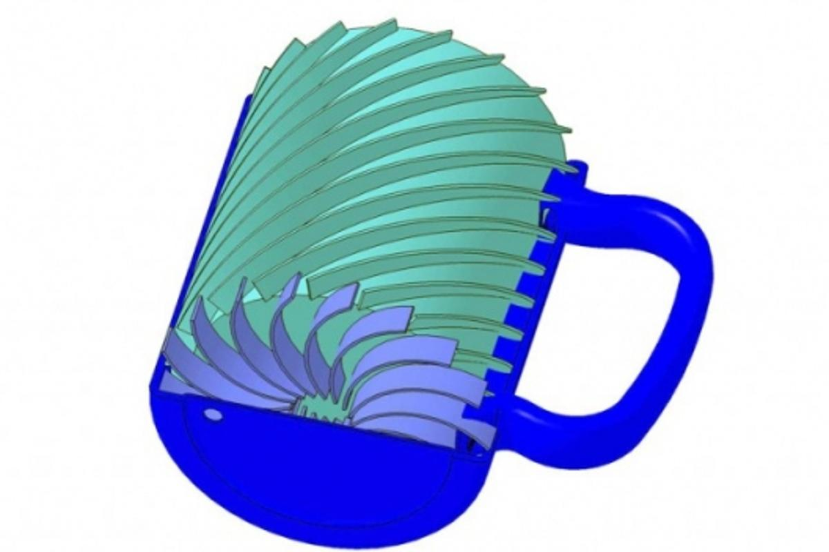 The coffee mug uses phase change materials to keep the contents at their optimum temperature longer