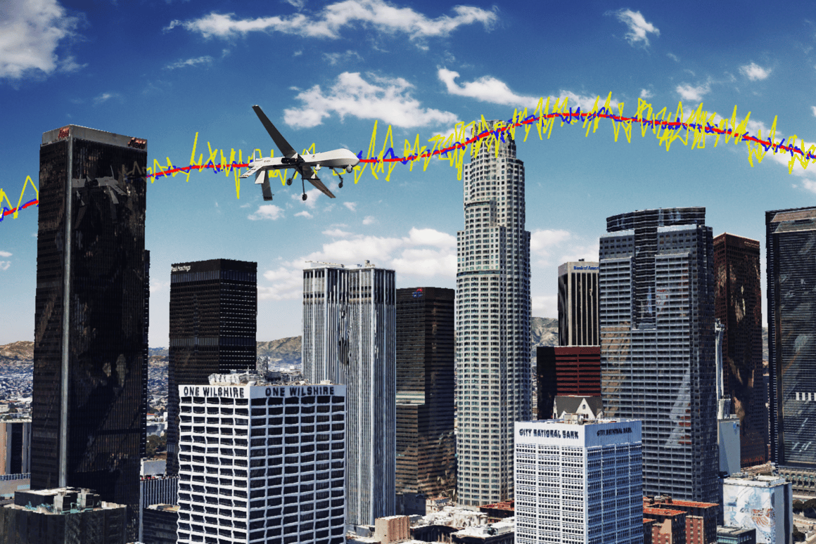 Simulation results for a unmanned drone flying over downtown Los Angeles showing the true trajectory (red line), from GPS only (yellow line), and GPS aided with cellular signals (blue line)