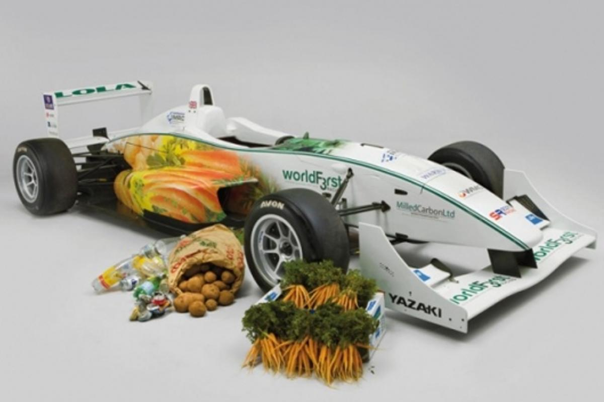 The WorldFirst Formula 3 racing car after a trip to the farmer's market for some spare parts