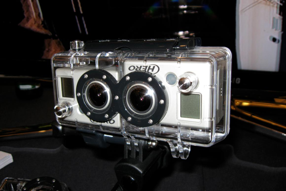 GoPro 3D HERO Expansion kit on display at CES 2011