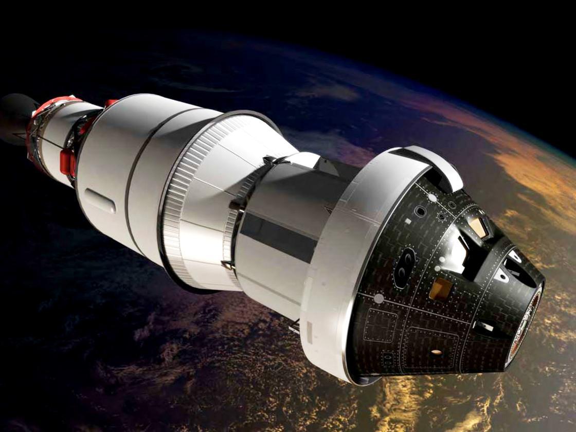 Artist's impression of Orion in orbit during its maiden test flight (Image: NASA)