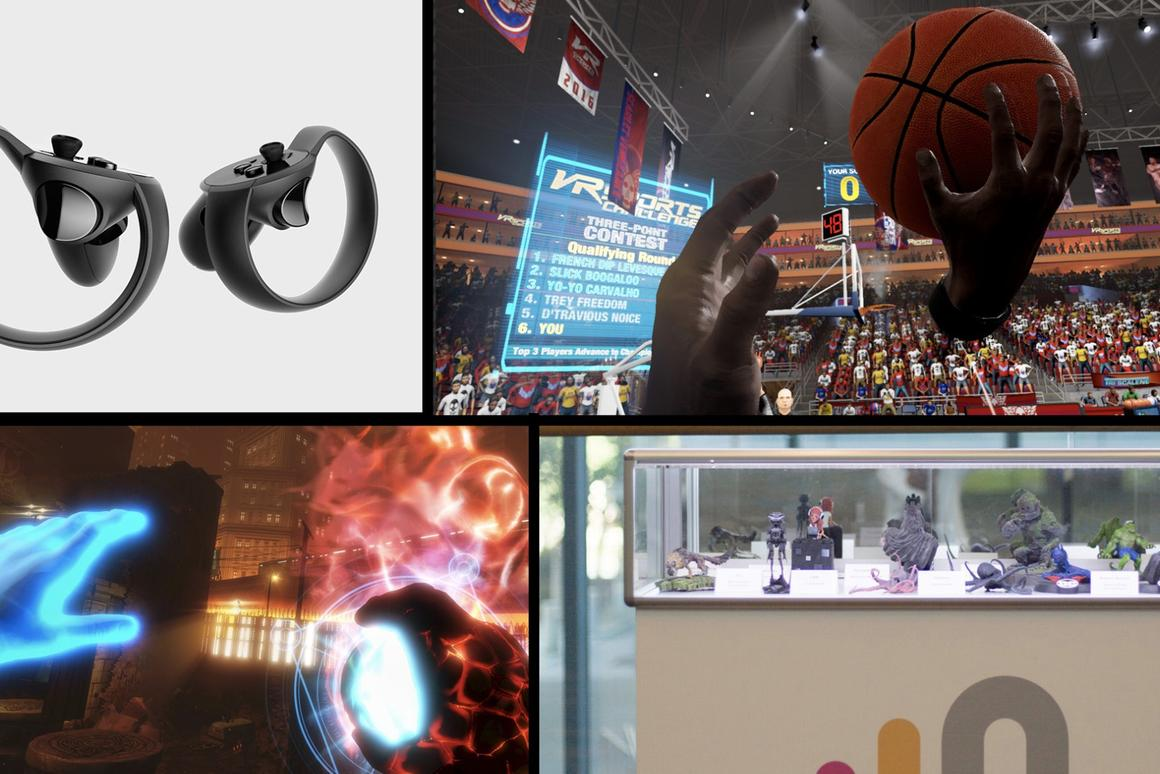 Our mini-reviews of three Oculus Rift/Touch launch titles (clockwise from upper-right):VRSports Challenge, Oculus Medium and The Unspoken