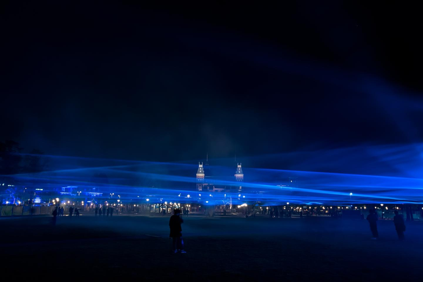 Studio Roosegaarde's Waterlicht installation has been on display in Amsterdam's Museumplein square
