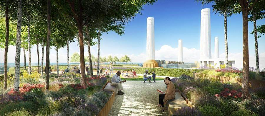 Battersea Roof Gardens is part of the Battersea Power Station redevelopment and will provide views of the famous chimneys