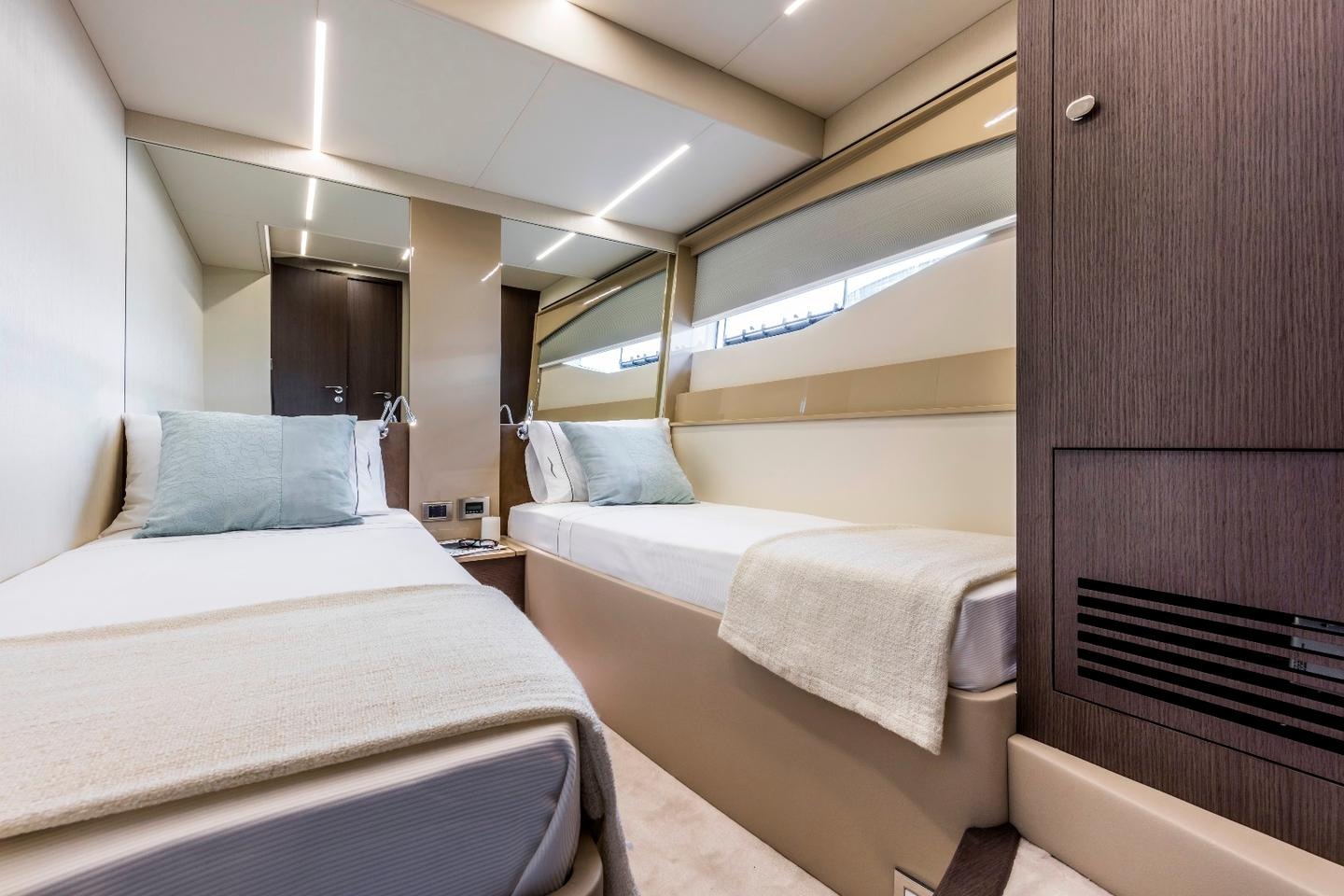 Each cabin on the 62FLY has its own bathroom